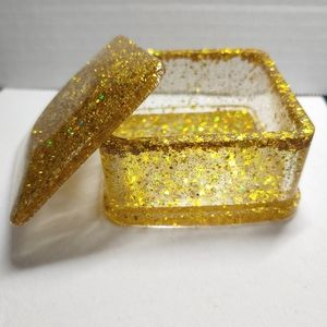 Jewelry Box Square Gold Glitter